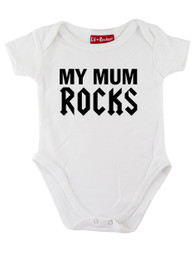 White My Mum Rocks Baby Grow