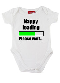 White Nappy Loading Please Wait Baby Grow