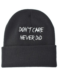 Dont Care Never Did Embroidered Slogan Beanie Hat (C)