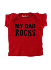 Red My Dad Rocks Baby T-Shirt