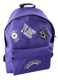 Too Glam Multipatch Embroidered Purple Backpack