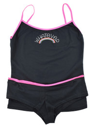 Whatever Rainbow Embroidered Hipster Set With Pink Trim