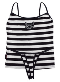 Hiss Off Black and White Stripey Embroidered Thong Set