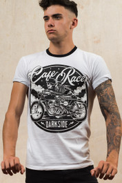Cafe Racer Mens White Ringer T Shirt with Black Trim