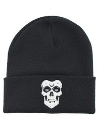 Skull Embroidered Beanie Hat