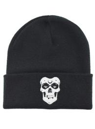Skull Embroidered Beanie Hat