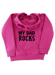 My Dad Rocks Pink Kids Pullover Hood