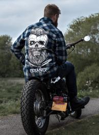 Bearded Skull Grey and Blue Checked Shirt
