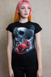 Tattoo Gun Skull Womens T Shirt