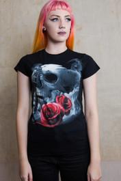 Tattoo Gun Skull Womens T Shirt