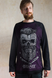 Bearded Skull Purple Mens Mesh Raglan