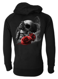 Tattoo Gun Skull and Rose Genuine Darkside Cotton Zip Hood
