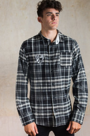 Crash Helmet Skull Genuine Darkside Biker Black and White Checked Flannel Shirt