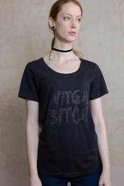 Black Glitter Witch Bitch Genuine Darkside Womens T Shirt