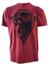 Crash Helmet Skull Red Acid Wash T Shirt