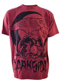 Skull Crow Red Acid Wash Mens T Shirt