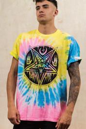 Pentagram Baphomet Pastel Spiral Tie Dye Mens T Shirt