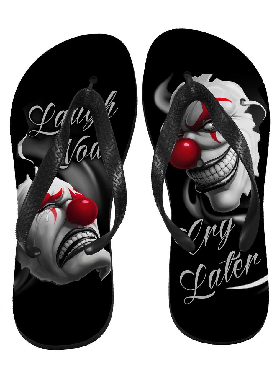Laugh Now Cry Later Clowns Genuine Darkside Flip Flops