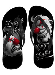 Laugh Now Cry Later Clowns Flip Flops