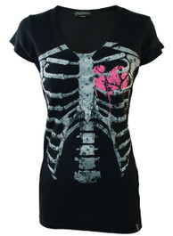 Pink Heart Ribs Ribbed Longline T Shirt