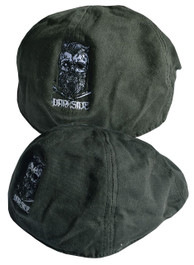 Bearded Skull Green Embroidered Wax Flat Cap