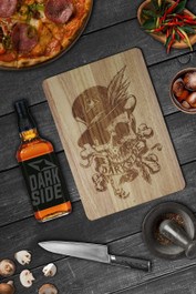 Voodoo Skull Engraved Wooden Chopping Serving Board