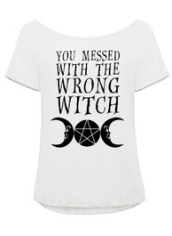 You Messed With The Wrong Witch White Orchid Top
