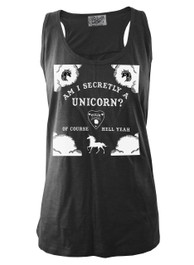Am I Secretly A Unicorn Black Slub Vest