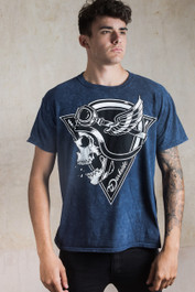 Crash Helmet Skull Blue Acid Wash T Shirt