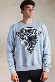 Crash Helmet Skull Grey Sweatshirt