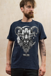 Darkside Goat Blue Acid Wash T Shirt