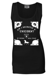 Am I Secretly A Unicorn Womens Black Cotton Vest
