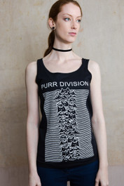 Purr Division Womens Black Cotton Vest