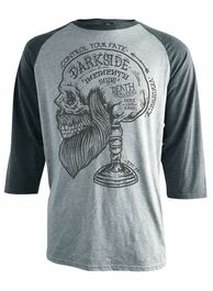 Memento Bearded Skull Raglan T Shirt Grey