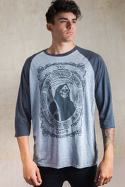 Smoking Reaper Raglan T Shirt Grey