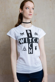 Witch Bitch Cross Womens White Scoop Neck T Shirt