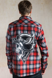 Crash Helmet Skull Genuine Darkside Biker Red and Grey Checked Flannel Shirt