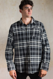 Death Moth Embroidered Checked Shirt Black-White