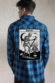 Death Tarot Embroidered Checked Shirt Blue-Black