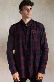 Winged Seeing Eye Embroidered Checked Shirt Burgandy-Blue