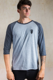 Bearded Skull Embroidered Raglan T Shirt Grey