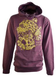 Leopard Skull Red Washed Pullover Hood