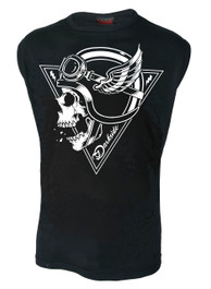 Crash Helmet Skull Mens Sleeveless Vest