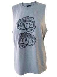 Hate Or Date Womens Grey Cut Off Vest