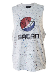 Pepsi Satan Womens Red and Blue Splatter Cut Off Vest