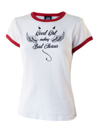 Good Girl Bad Choices Womens Red Trim Skinny Fit T Shirt