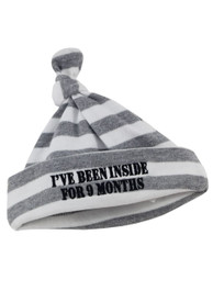 Stripey Been Inside Newborn Baby Beanie Hat Grey and White