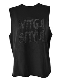 Witch Bitch Cat Black Glitter Cut Off Vest