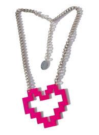 Pink Pixel Heart Necklace