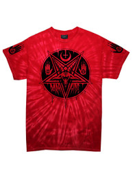 Pentagram Baphomet Red Tie Dye T Shirt